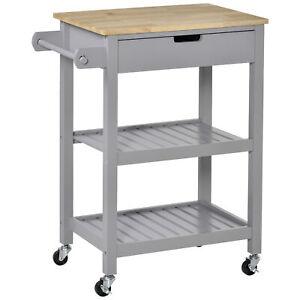Modern Kitchen Cart Portable Wooden Serving Trolley Storage Shelves Drawer Grey
