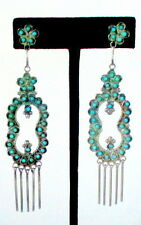 VINTAGE 1960'S ZUNI PETIT POINT TURQUOISE - SILVER LONG DANGLE EARRINGS, NEW MEX