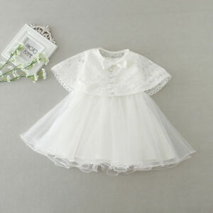 Newborn Baby Girls Christening/Birthday/Prom White Party Princess Dress+Shawl 6