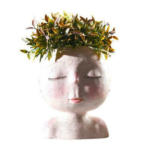 Girls Face Head Flower Planter Succulent Plant Pot Flowerpot Figure Garden Decor