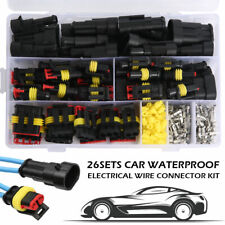 26Sets 1-4 Pin Electrical Wire Connector Plug Set Waterproof Automotive Plug Kit