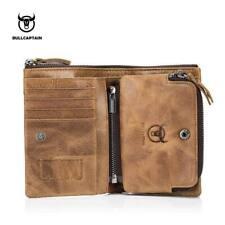 BULLCAPTAIN Leather Men Wallet Short Coin Money Purse Vintage Cowhide Wallet New