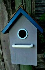 Vintage Wooden Bird House Gray With Blue Trim With Chain Crackle Finish 9 1/2 in