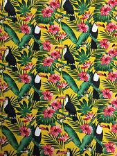 Yellow Toucan Birds Jungle Childrens Printed 100% Cotton Poplin Fabric