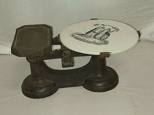 Antique Kitchen Scale With Broken Ironstone Plate