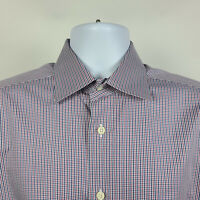 David Donahue Blue Red Mini Check Mens Dress Button Shirt Size 15.5 34/35