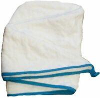 100% Pure Cotton Hair Wrap Head Towel Turbie Turban Twist Drying Button White