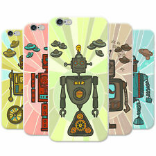 Retro Hipster Robots Snap-on Hard Back Case Phone Cover for Apple Mobile Phones