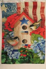 """We the People"" Patriotic Birdhouse, Chickadees, Hydrangea Flowers Garden Flag"