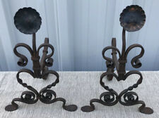 Pair Of Antique Iron & Copper Sunflower Andirons 16� X 11� X 9