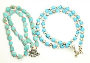 2 Vintage Sterling Silver Turquoise & Blue Stone Bead Necklaces 31.5g 925
