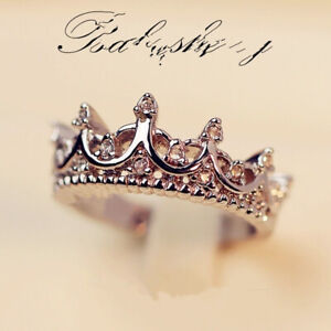 Gorgeous Zirconia Jewelry Crown Ring Women 925 Silver Engagement Rings Size 6-10