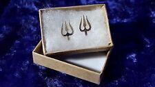 trisula Trishula tridente ARGENTO 925 Orecchini a perno mano prodotto in India