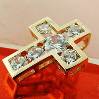 CROSS PENDANT GENUINE REAL 18K YELLOW G/F GOLD LADIES DIAMOND SIMULATED DESIGN