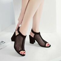 Women's Sexy Open Toe High Heels Mesh Hollow out Lace Up Sandals Party Shoes