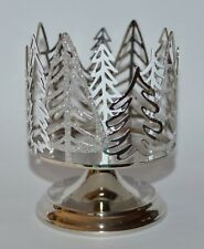 BATH BODY WORKS SILVER TREES PEDESTAL LARGE 3 WICK CANDLE HOLDER SLEEVE 14.5OZ