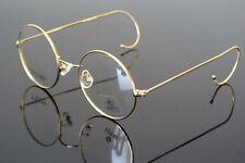 46mm Round Eyeglass frames Eyewear WOmen Men Vintage glasses -Gold wire temple