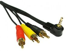 Jack Plug to 3 Phono Right Angled 3.5mm 4 Pole  RCA AV Audio Video Cable 1m