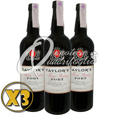 3 TAYLOR'S FINE RUBY PORT WINE PRODUCT OF PORTUGAL VINO PORTO 20%V 75CL DESSERT
