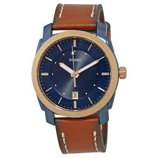 Fossil Machine Navy Blue Dial Mens Luggage Leather Watch FS5266