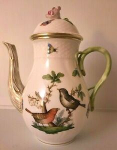 Herend Rothschild Bird Hand Painted Coffee Pot 8""
