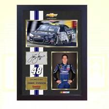 """Jimmie Johnson Signé Dédicacé Imprimé Photo 13""""x10"""" NASCAR Framed"""