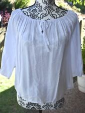 Women's Casual White Top Flowy 3/4 Sleeve Basic Size S Fits AU 6, 8, 10 Best