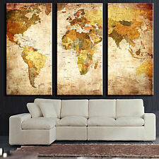 3Pcs Large Canvas Wall Poster World Map Print Decor Painting Picture