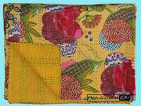 King Size Bedroom Bedcover Yellow Color Cotton Kantha Quilt Fruit Print Blanket