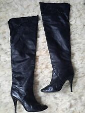 "Vintage 80's Wild Pair 27"" Leather Thigh High Over The Knee Boots studded 6.5 7"