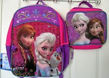 NWT Official Disney ELSA ANNA OLAF FROZEN Full Size Backpack w Lunch Tote FRE SH