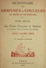 DARMON - DICTIONNAIRE DES GRAVURES EN COULEURS BISTRE & SANGUINE DU 18° - 1920