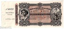 ~ Uruguay 10 PESOS BANCONOTA - 1883 BANCO DE LONDRES Y RIO DE LA PLATA ~
