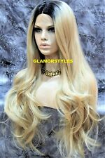 Long Wavy Sombre Golden Blonde Black Mix Full Lace Front Wig Heat Ok Hair Piece