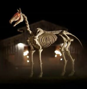 6 ft Life Size Standing Skeleton Horse Halloween Prop Decor Glowing Eyes 6 ft