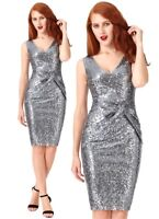 Goddiva Silver Sequin Bow Detail Cocktail Evening Party Dress 8-14 Prom RRP £67
