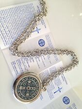 "St Benedict Exorcism Medal 1 1/2"" With 24""Chain/Gift Box 6Languages/San Benito"