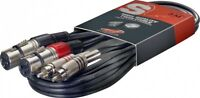 1 Câble 2 XLR 3 Broches Femelle vers 2 RCA Mâle repérées Longueur 60 CM