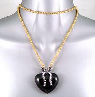 Lang Gold Überzogen Schwarz Emaille Herz & Schleife Wag Anhänger Halskette mit