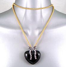 Largo Chapado En Oro Esmalte Negro Corazón & Lazo Wag Collar con Colgante con/