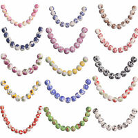 20Pcs Round Flower Printing Round Ceramic Porcelain Loose Beads Findings 10mm