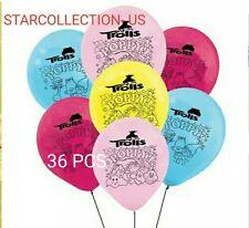 "36 PC Party 12"" Latex Trolls Troll Balloons poppy birthday party supply"