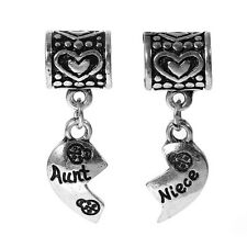 """Set of 2 Pcs """" Heart w/ Aunt & Niece """" Dangle Charms Bead for Snake Chain Charm"""