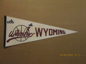 CBA Wyoming Wildcatters Vintage Defunct Circa 1980's Logo Basketball Pennant