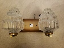 Vintage Antique Wall Mounted Lighting Fixture Two Bulbs Electrical Outlet