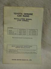 Toyota Genuine Car Radio Installation Manual (for Corona)