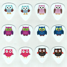 12 Pack OWLS ASSORTED KIDS FUN HOOT Medium Gauge 351 Guitar Picks Plectrum
