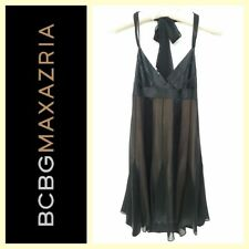 BCBG $395 sheer black silk chiffon w/nude satin lining halter dress~0