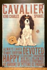 Cavalier King Charles Spaniel Metal Sign With Character Description (30 x 20cm)