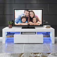 "White 63"" High Gloss TV Stand Unit Entertainment Center LED Light Shelf 2 Drawer"